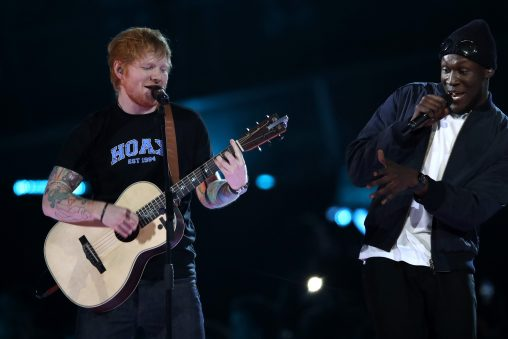 LONDON, ENGLAND - FEBRUARY 22:  (EDITORIAL USE ONLY)  Ed Sheeran and Stormzy perform on stage at The BRIT Awards 2017 at The O2 Arena on February 22, 2017 in London, England.  (Photo by Mike Marsland/Mike Marsland/WireImage)
